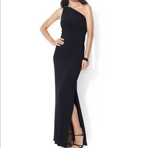Lauren Ralph Lauren black evening gown with brooch